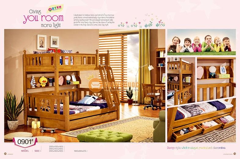 Mẫu giường 3 tầng gỗ cho bé cuốn hút mà mẹ nên tham khảo